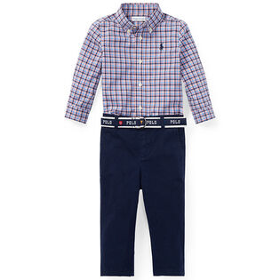 Baby Boys' [3-24M] Plaid Shirt + Belted Chino Two-Piece Set