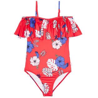 Junior Girls' [6-14] Tropical Vibes Ruffle Tank One-Piece Swimsuit