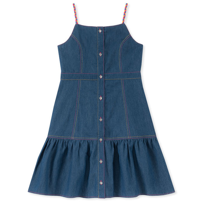 Junior Girls' [8-16] Button-Down Braided Strap Dress