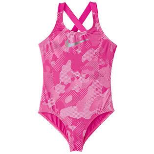 Junior Girls' [7-16] Optic Camo Crossbcak One-Piece Swimsuit