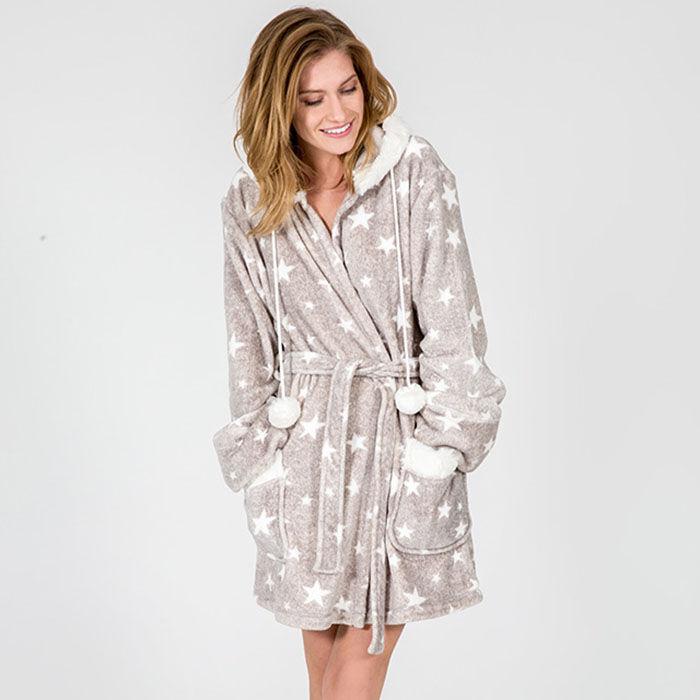Robe de chambre douillette à motifs d'étoile pour femmes