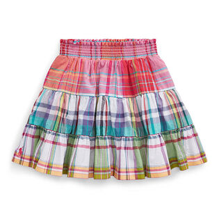 Girls' [2-4] Tiered Cotton Madras Skirt