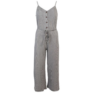 Women's Buttoned Stripe Jumpsuit