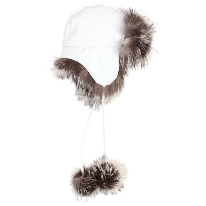 Chapeau de style aviateur avec pompons en fourrure pour femmes