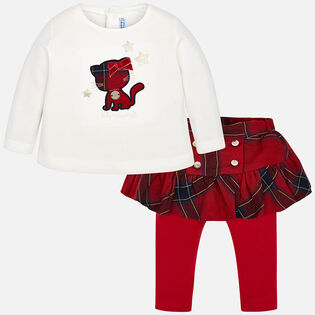 Baby Girls' [12-36M] Check Skirted Legging Two-Piece Set
