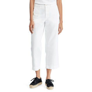 Women's Cropped Twill Wide Leg Pant