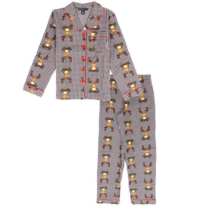 Junior Girls' Floral Deer Two-Piece Pajama Set