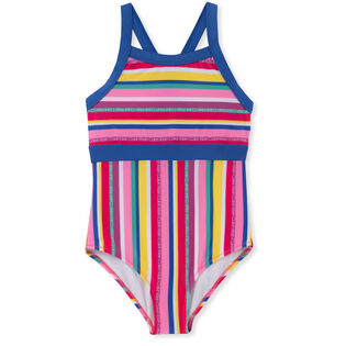 Junior Girls' [8-16] Multistripe Logo One-Piece Swimsuit