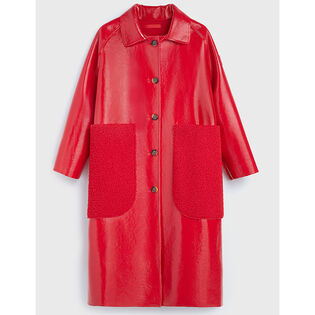 Women's Reversible Patent Sherpa Coat