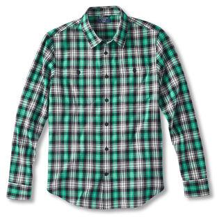Chemise en flanelle tissée avec poche à bouton pour hommes