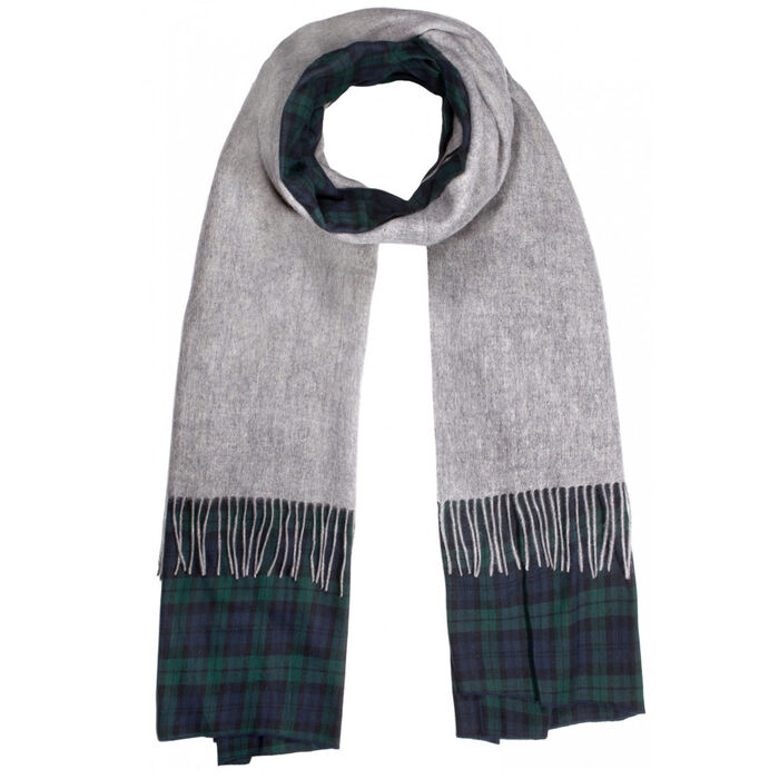 Womem's Plaid And Solid Mix Scarf
