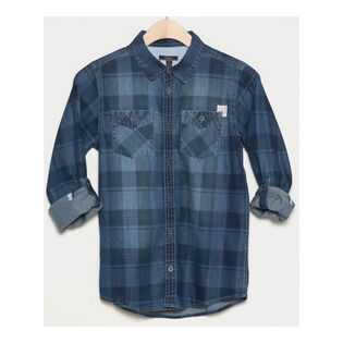 Junior Boys' [8-16] Denim Plaid Shirt