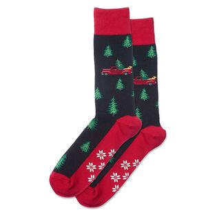 Men's Holiday Trucks Non-Skid Crew Sock