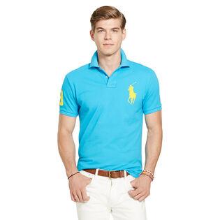 Men's Custom-Fit Big Pony Mesh Polo Shirt (Black/White)