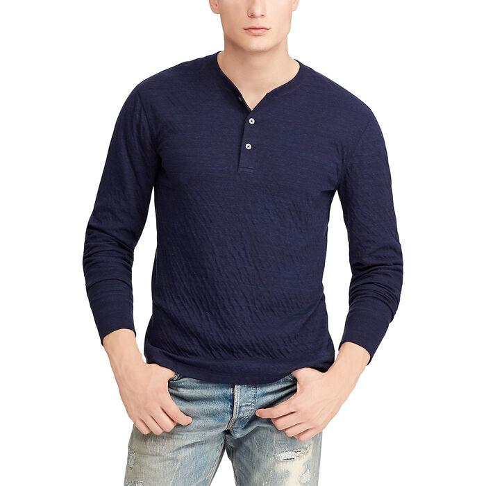 Men's Cotton-Blend Henley Top