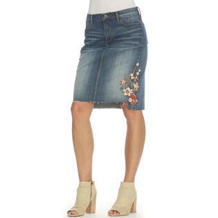 Women's Embroidered Denim Skirt