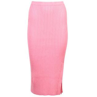 Jupe mi-longue en tricot à nervures larges pour femmes