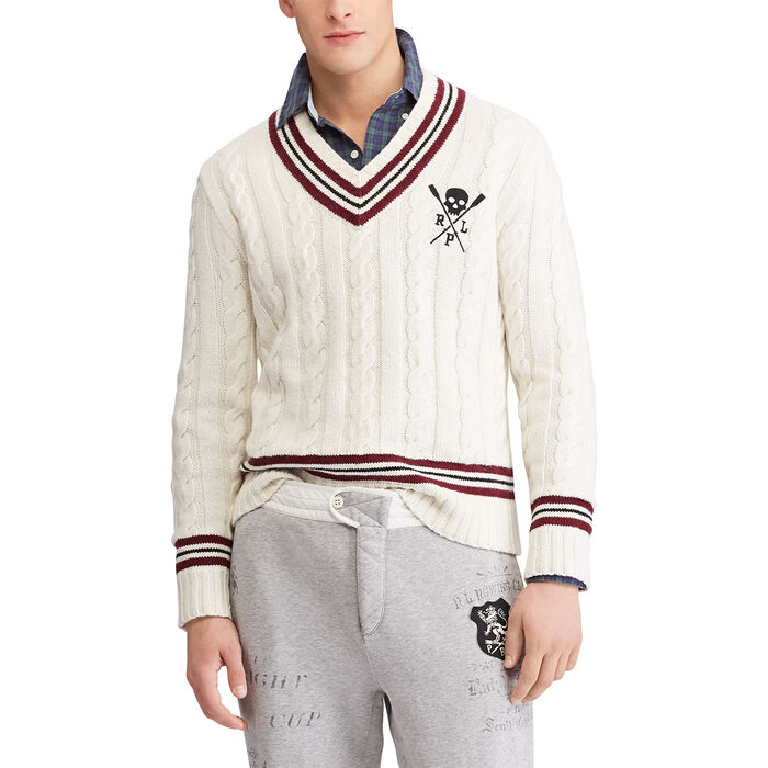 Men's Cotton-Blend Cricket Sweater