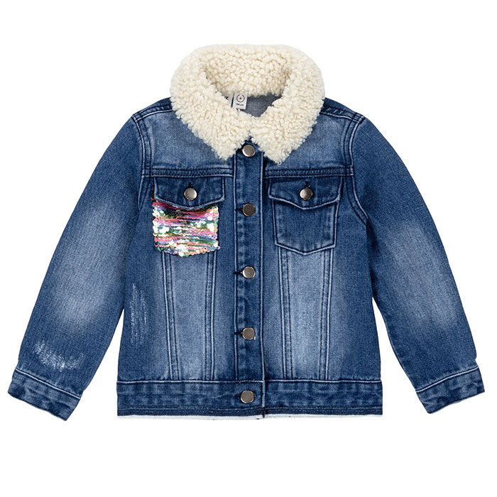 Veste en jean à paillettes pour filles [3-6]