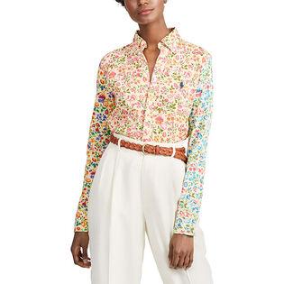 Women's Floral Print Knit Oxford Shirt