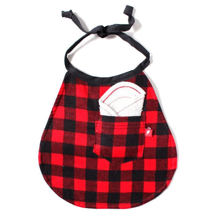 Bavette réversible à poche et à tartan rouge et noir pour bébés