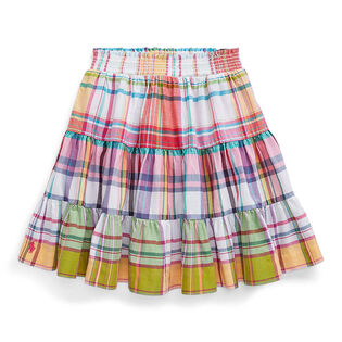 Junior Girls' [7-16] Tiered Cotton Madras Skirt