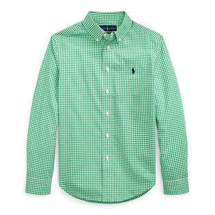 Chemise en popeline de coton à motif guingan pour garçons juniors [8-20]