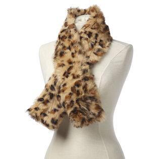 Women's Leopard Print Fur Scarf