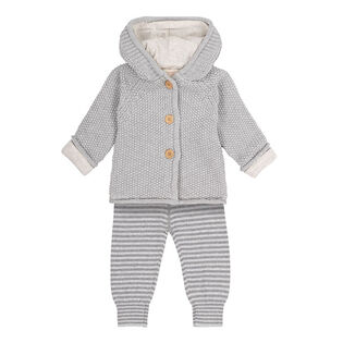 Babies' [3-18M] Knit Hooded Cardigan + Pant Two-Piece Set