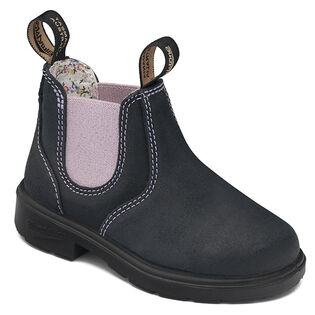 #2195 Kids' Chelsea Boot In Suede Navy With Pink Elastic