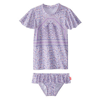 Girls' [2-7] Peacock Paisley Rashie Two-Piece Swimsuit