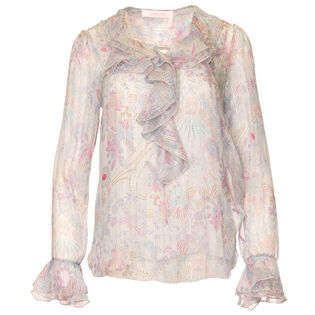 Women's Printed Frilly Blouse