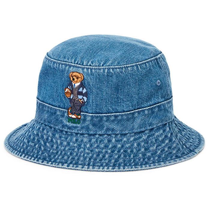 Unisex Polo Bear Denim Bucket Hat