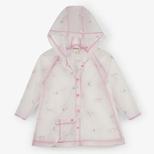 Girls' [3-8] Rainbow Unicorns Clear Swing Raincoat