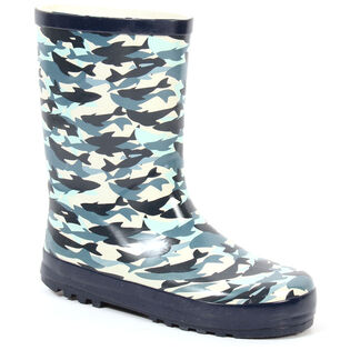 Kids' [11-4] Abstract Shark Rain Boot