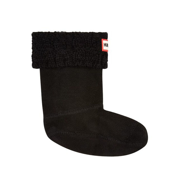 Kid's Cable Knit Boot Socks (Black)