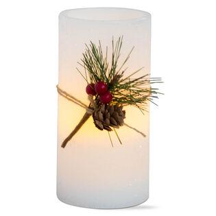 "Greenery Flameless LED Pillar Candle (6"")"