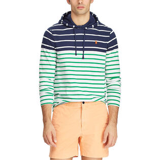 Men's Striped Cotton Hooded T-Shirt