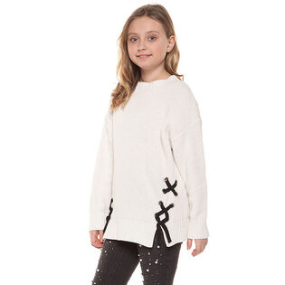 Junior Girls' [7-14] Knit Lace-Up Sweater