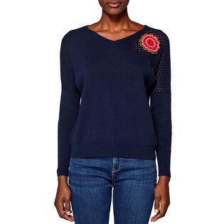 Women's Crochet Flower Sweater