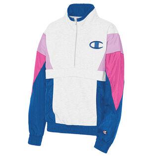 Women's Mixed Media Half-Zip Pullover Sweatshirt