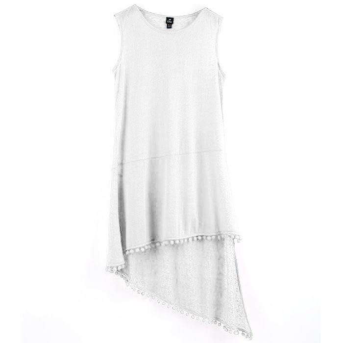 Women's Pom Pom Slub Tank Dress