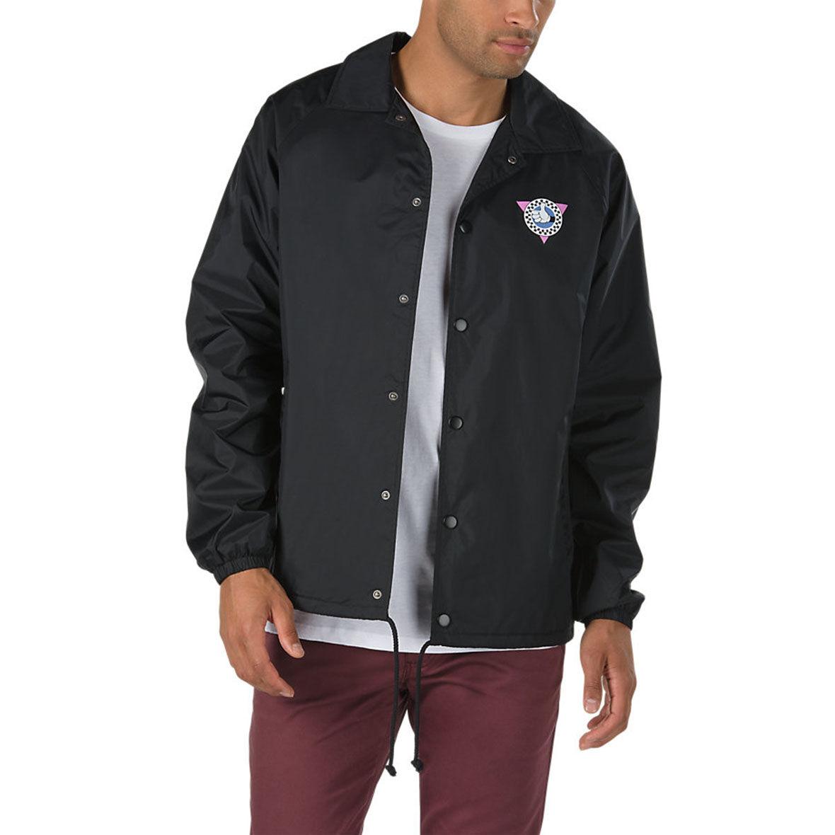 Vans X Disney Mickey Mouse Torrey Windbreaker Men Button Black Jacket Medium New Men's Clothing