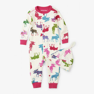 Baby Girls' [6-24M] Patterned Moose Baby Coverall