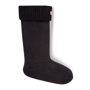 Women's Half Cardigan Stitch Boot Socks (Black)