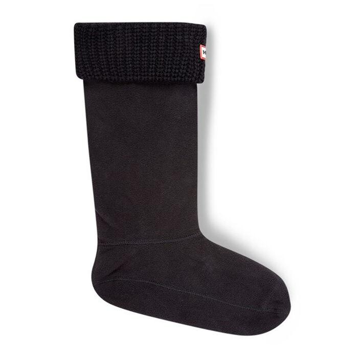Women's Half Cardigan Stitch Boot Socks (Black)
