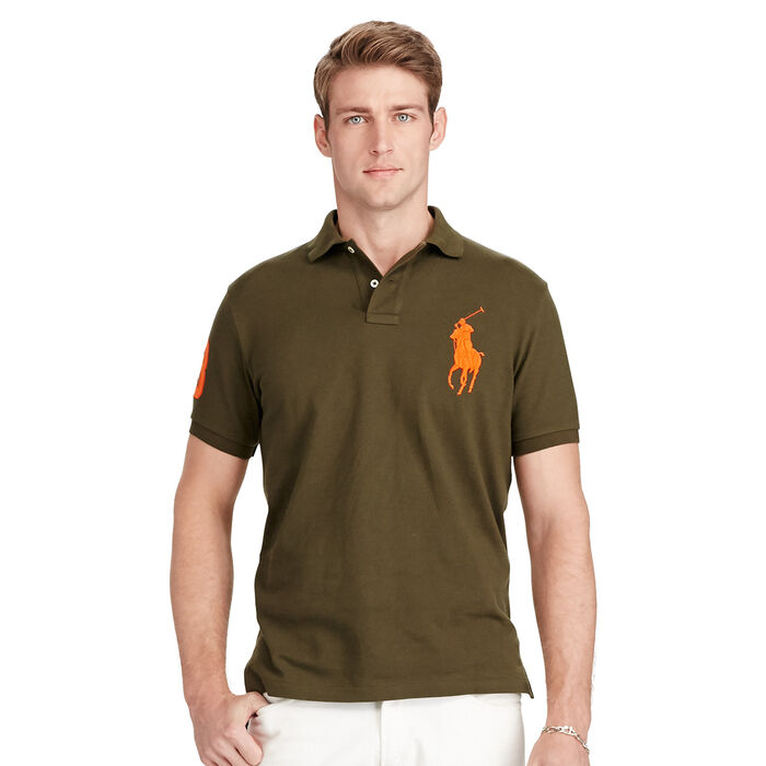 Men's Custom-Fit Big Pony Mesh Polo Shirt (Black/White)