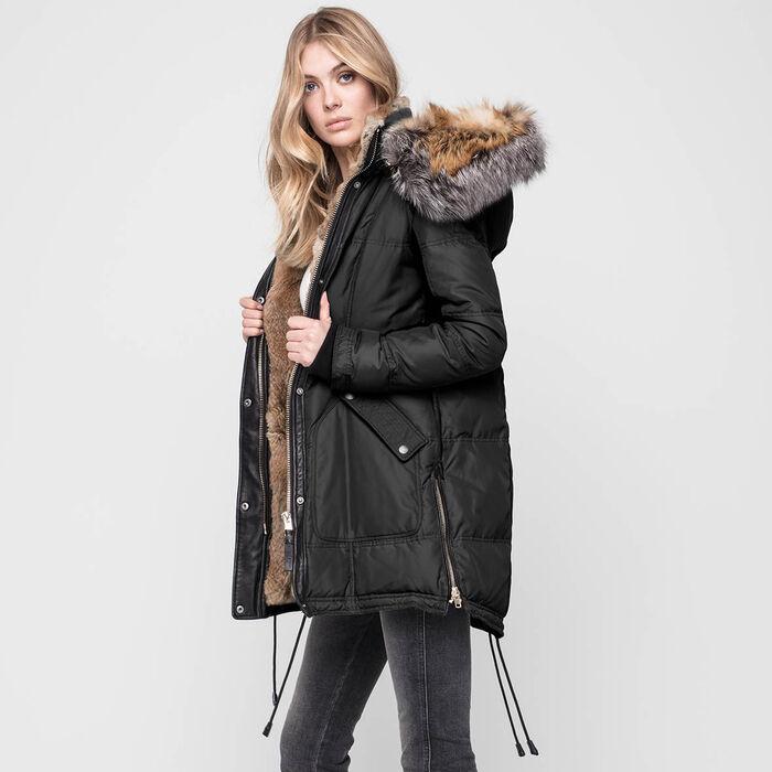 Manteau doublé de fourrure Chelsea Intarsia pour femmes