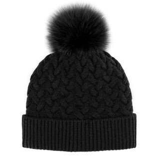 Women's Braided Knit Pompom Beanie
