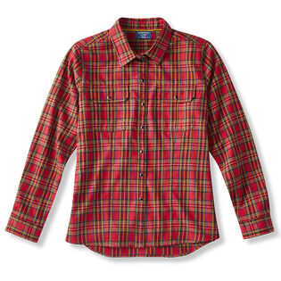 Chemise en flanelle tissée avec poche à rabat pour femmes